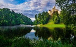 Картинка облака, деревья, пейзаж, природа, озеро, замок, Хорватия, Тракошчан, Вараждин