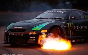 Картинка огонь, пламя, Nissan, GT-R, drift, Monster Energy, R35, Larry Chen