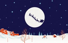 Картинка зима, луна, силуэт, Рождество, Санта, снеговик, сани, олени