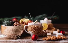 Картинка новый год, печенье, New Year, горячий шоколад, decor