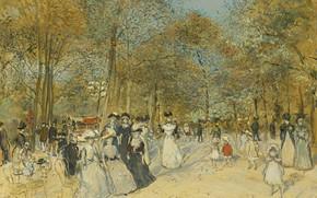 Картинка картина, жанровая, Jean-Francois Raffaelli, Жан-Франсуа Рафаэлли, Елисейские Поля