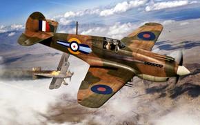 Картинка RAF, P-40C, WWII, Regia Aeronautica, 73sqn, Tomahawk Mk.IIB, CR.42 Falco