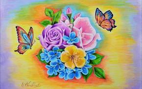 Картинка Цветы, Рисунок, Арт
