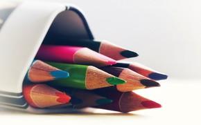 Картинка карандаши, разноцветные, боке