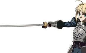 Картинка меч, рыцарь, сейбер, Судьба ночь схватки, эскалибур, Fate / Stay Night