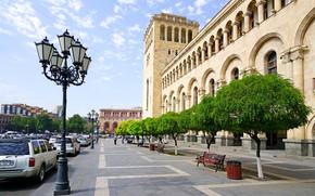 Картинка Дома, Деревья, Улица, лавочки, Армения, Yerevan, Уличные фонари