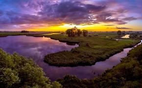 Картинка закат, река, Zeeland, Terneuzen