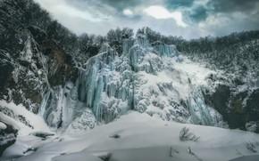 Картинка зима, лёд, замёрзший водопад