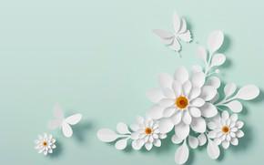 Картинка бабочки, цветы, стиль, бумага, фон, узор, белые
