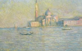 Картинка пейзаж, лодка, картина, канал, живопись, венеция, клод моне