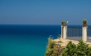 Картинка море, небо, горизонт, Италия, Тропеа, смотровая площадка, Калабрия