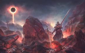 Картинка Луна, Камни, Меч, Воин, Moon, Fantasy, Мечи, Warrior, Рыцарь, Фантастика, Knight, Ray, Sword, Stones, Swords, …