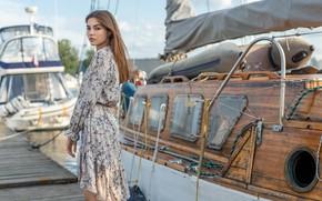 Картинка взгляд, девушка, поза, яхты, причал, платье, Олег Коломийченко