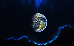 Картинка Планета, Дом, Космос, Туманность, Земля, Space, Planet, Фантастика, Nebula, GrahamTG, madeinkipish, Graham Gazzard, background by …