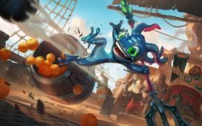 Картинка лягушка, апельсины, существо, трезубец, пираты, Fizz, Bilgewater, Legends of Runeterra
