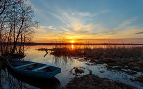Картинка осень, трава, солнце, лучи, пейзаж, закат, природа, озеро, лодка, вечер, Сергей Сергеев