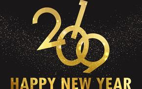 Картинка фон, золото, Новый Год, golden, New Year, Happy, 2019