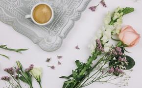 Картинка роза, кофе, Роза, букет, чашка, поднос, Эустома, лимониумом