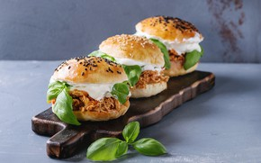 Картинка гамбургеры, бутерброды, разделочная доска, Natasha Breen