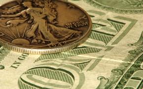 Картинка деньги, доллары, монета