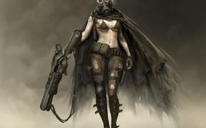 Обои взгляд, оружие, Девушка, маска