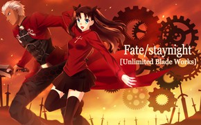 Картинка оружие, аниме, арт, мужчина, Fate/Stay Night, Рин, арчер, Судьба ночь схватки