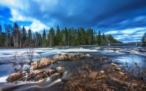Картинка river, bridge, rocks, Finland, long exposure, Springtime flood