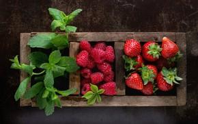 Картинка ягоды, малина, коробка, клубника, мята, композиция