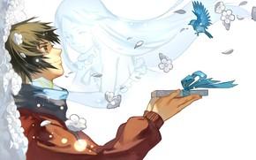 Картинка подарок, дух, птички, парень, Невиданный Цветок, Meiko Honma, Jinta Yadomi