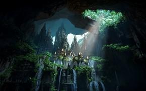 Картинка водопад, красота, затерянный город, Uncharted: The Lost Legacy