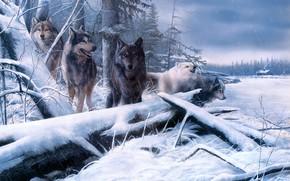Картинка зима, поле, лес, взгляд, снег, ветки, природа, дом, рисунок, стая, картина, арт, волки, живопись, брёвна, …