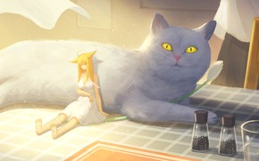 Картинка кошка, девушка, стол, ушки, лапша, крошечная, стаканы с водой
