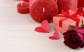 Картинка любовь, подарок, розы, свечи, красные, red, love, heart, flowers, romantic, valentine's day, roses, gift box