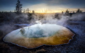 Картинка sunset, Yellowstone, Thermal, Morning Glory Pool