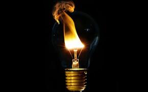 Картинка лампочка, огонь, чёрный фон