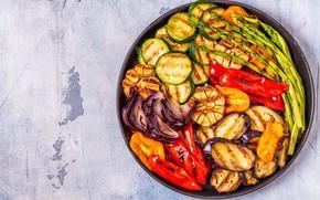 Картинка лук, баклажаны, перец, овощи, чеснок, кабачки, спаржа, гриль