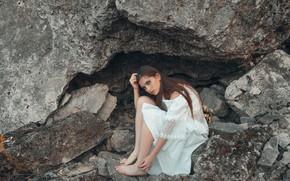 Картинка взгляд, девушка, поза, скала, платье, красивая, Анастасия, Вадим Миронов