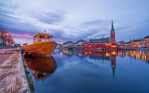 Картинка Arendal, лодка, церковь, Norway, огни, вечер, Норвегия