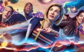 Обои фантастика, Doctor Who, Доктор Кто, Jodie Whittaker, звуковая отвёртка, Тринадцатый Доктор, Thirteenth Doctor, Tosin Cole, ...