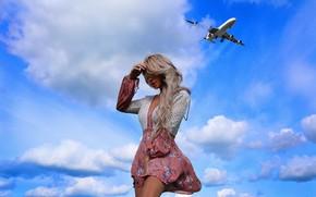 Картинка Девушка, самолёт, Джулия Дамия, Ника Науменко