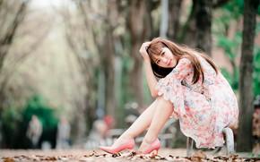 Картинка девушка, парк, платье, азиатка, милашка