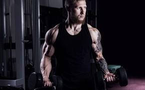 Картинка взгляд, поза, тату, muscle, мышцы, pose, тренировка, тренажеры, гантели, бицепс, тренажерный зал, gym, бодибилдер, training, …