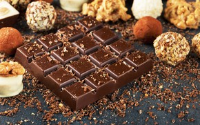 Картинка шоколад, конфеты, орехи, сладкое