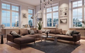Картинка дизайн, комната, диван, окна, интерьер, подушки, люстра, столик, гостиная
