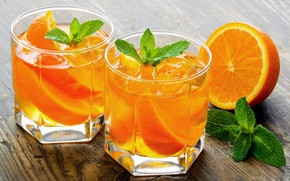 Картинка лед, апельсин, алкоголь, стаканы, напиток, фрукты