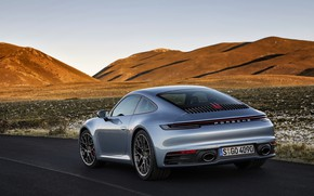 Картинка небо, горы, купе, 911, Porsche, сзади, Carrera 4S, 992, 2019