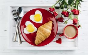 Картинка кофе, розы, букет, завтрак, сердечки, love, rose, heart, cup, romantic, breakfast, круассан