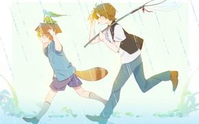 Картинка дождь, лягушка, хвост, книга, мальчики, The Eccentric Family, Uchouten Kazoku