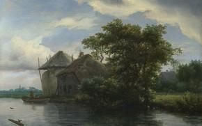 Картинка пейзаж, картина, Якоб ван Рёйсдал, Jacob van Ruisdael, Коттедж и стог сена у реки
