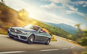 Картинка дорога, транспорт, Mercedes-Benz, поворот, автомобиль